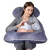 moxuan Pregnant Women's Pillows, 55-inch U-Shaped Pillows, Bodied Cotton (Grey)