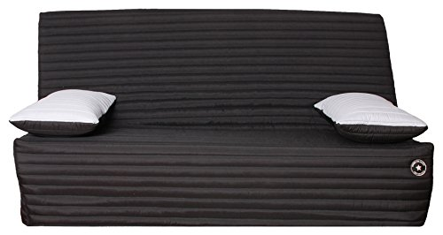 CANAPES TISSUS FREEZIA Banquette Canapé-Lit, Tissu, Noir, 190 x 95 x 98 cm