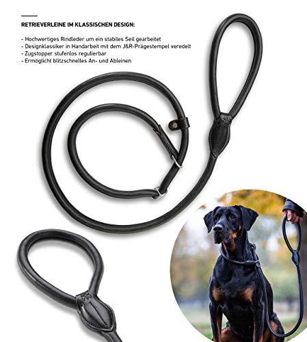 Jack & Russell Leder Premium Leder Hundeleine Nora 1,7m - Führleine Lederleine Nora (Schwarz)