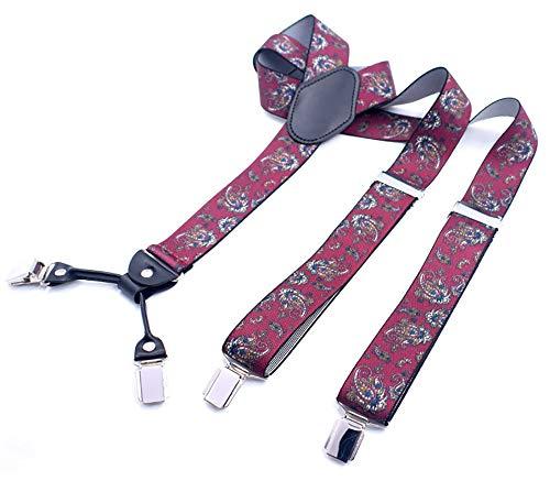Yuyudou bretels voor mannen 4 clips, Y-vormige rugbanden 1,37 inch brede, verstelbare bretels met metalen clips
