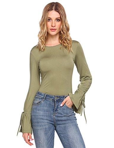Zeagoo Dames bovenstuk shirt met lange mouwen herfst casual blouse ronde hals tops met trompetmouwen zwart groen blauw rood