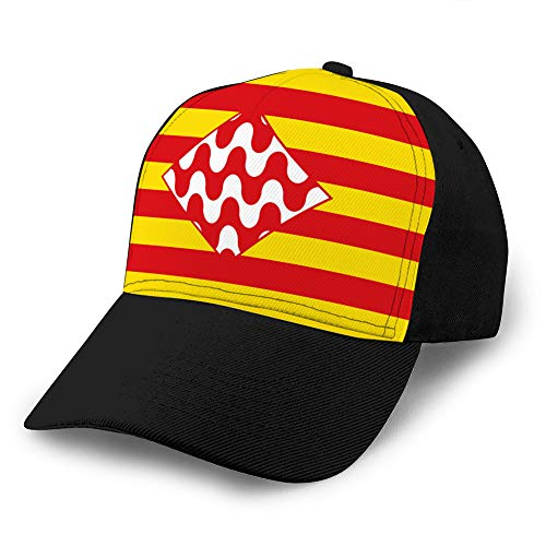 Men's Baseball Caps Fashion Adjustable Sandwich Cap Flag of girona is a Province of Spain Adjustable Cap
