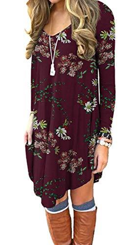 POSESHE Womens Basice Long Causal Tunic Top Mini T-Shirt Dress Flower Wine red Large