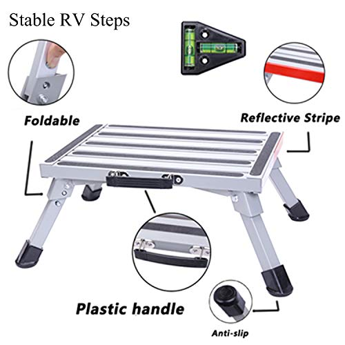 Homeon Wheels Safety RV Steps 16.5' x 12.2' RV Step Stool Aluminum Folding Platform Step with Non-Slip Rubber Feet, Reflective Stripe, Grip Handle, RV T Level, More Stable Supports Up to 1000 lbs