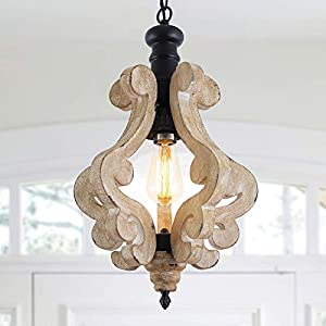 Farmhouse Chandelier Handmade Wood Light Fixture, 1 Light Wooden Pendant Light, French Country Chandeliers for Kitchen Island Foyer Bedroom Living Room Dining Room Foyer Entryway, Brown