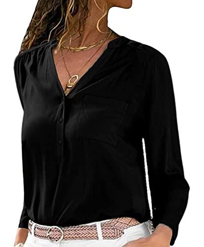 datasy Camiseta Manga Larga Mujer Elegantes Blusa Fiesta Camisa Top Shirts Casual Suelto Camisa Playa Blusa de Fiesta Moda Sexy Sólido con Cuello en V Noche Largos Tops Blusa Camisas Negro M