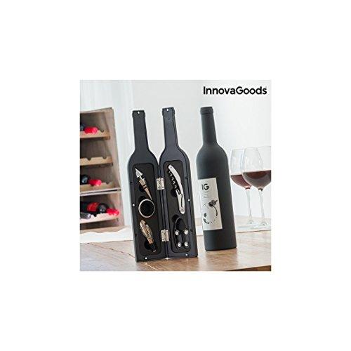 InnovaGoods, Cofanetto di Accessori per Vino a Forma di Bottiglia, Acciaio Inox, Nero, 7x 7x 33cm
