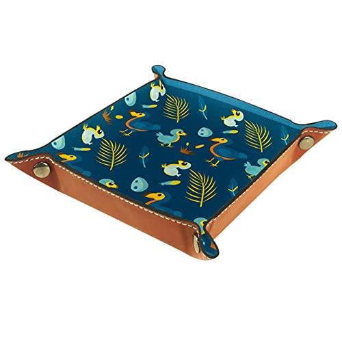 ATOMO Vassoio portaoggetti in pelle carino blu fumetto Dodo uccello chiave del bambino gioielli Cattchall vario organizer comodino piccolo vassoio chiave telefono gioielli contenitore scatola