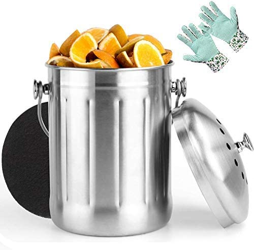 Vdomus Indoor Kitchen Stainless Steel Compost Bin Includes 1 Carbon Filter and Anti-Slip PVC Dots Garden Gloves 1.3 Gallon