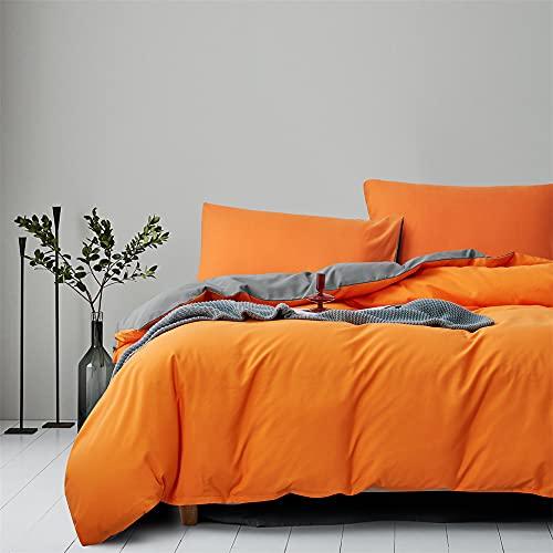 Gnomvaie Ropa de cama de 135 x 200 cm, color naranja y gris, reversible, juego de 2 piezas, microfibra, funda nórdica con cremallera y funda de almohada de 80 x 80 cm