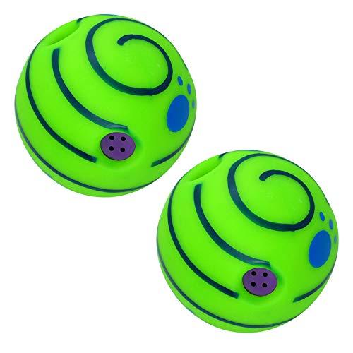 Amuzocity 2X Bola Oscilante Bola de Risa Perro Perrito Jugando Pelota Juguete para Mascotas Rolling Shaken W Sound