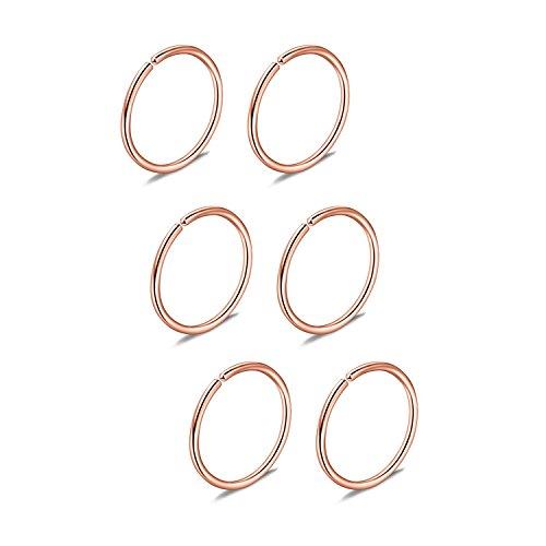 Briana Williams 6er Nasenpiercing Nasenring Fake Nasen Hoop Ring 22G 20G 18G 16G 6/8/10/12mm Chirurgenstahl Piercing Schmuck
