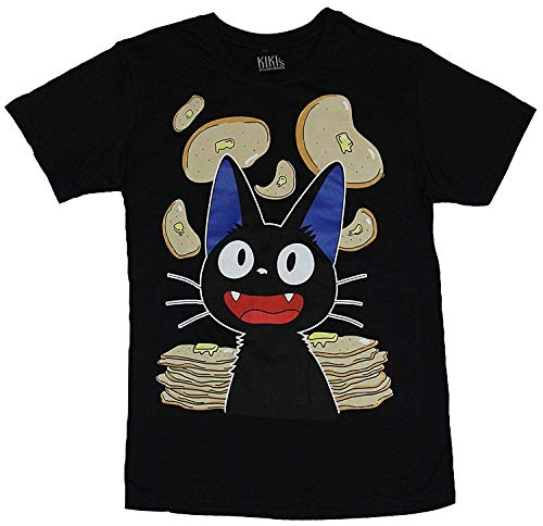 Mens Casual Outdoor Tees Kiki's Cat Raining Pancakes Tee Black