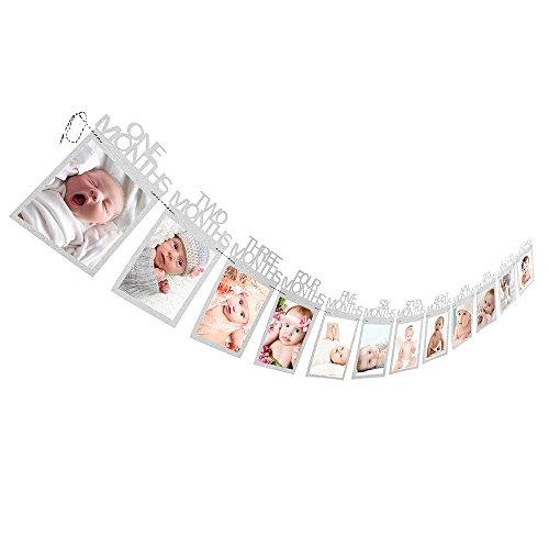 GFEU, Fotobanner, Baby, 12 Monate, kreatives Baby, erstes Jahr, Wimpelkette, Girlande, Halter, tolles Geschenk, Dekoration für Geburtstag, Rekord, Babywachstum silber