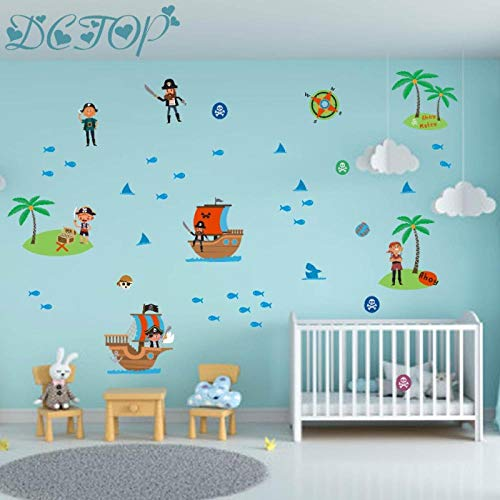 kldfig Cartoon piratenschip Kapitän Sailor Muursticker Eiland kompas telescoop vinyl stickers voor kinderen kinderkamer decoratie Home Art Muurschildering 98 x 3 cm