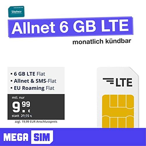 Mobilfunktarif Allnet 6 GB - LTE Internet Flat, Allnet Flat Telefonie & SMS, EU-Roaming, monatlich kündbar