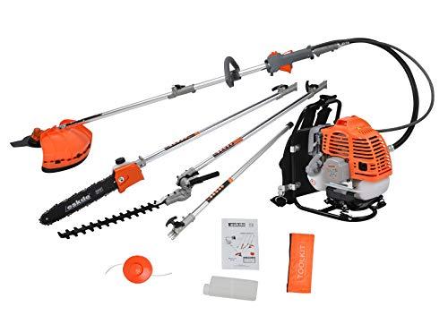 eSkde BP52-S8KIT 5 in 1 Rucksack 52cc Benzin Garten Multi Tool System mit Motorsense/Rasentrimmer/Rasenkettensäge/Heckenschere und Verlängerungsstange, Orange und Grau