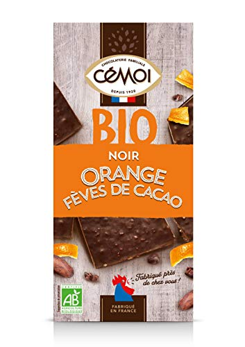 Cémoi Tablette Bio Bloc Chocolat Noir/Orange/Éclats De Fèves De Cacao 180 G