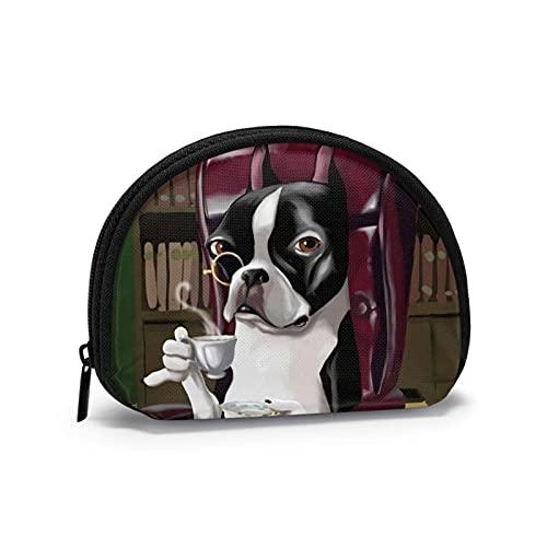 Elegante Bulldog francese Bla Coffee Borsellino a tema stampato Borsa carina Shell Storage Bag Portafogli ragazza Bule Portamonete Portachiavi Gifys Donna Novità