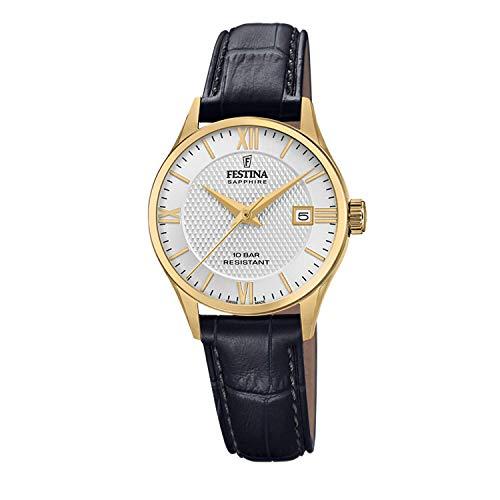 Festina Unisex Erwachsene Analog Quarz Uhr mit Leder Armband F20011/1