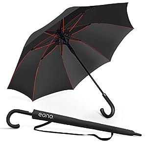 [Amazonブランド] Eono(イオーノ) 傘 長傘 メンズ レディース ワンタッチ開き 丈夫 撥水 耐風 Teflon加工 210T高強度グラスファイバー 軽量 大型 130cm 梅雨対策 晴雨兼用 収納ポーチ付き 父の日