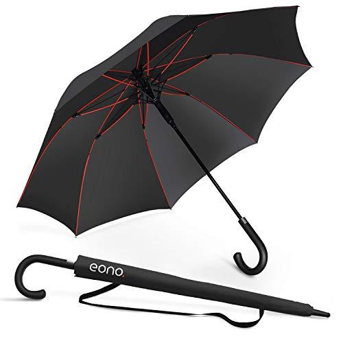 [Amazonブランド] Eono(イオーノ) 傘 長傘 メンズ レディース ワンタッチ開き 丈夫 撥水 耐風 Teflon加工 210T高強度グラスファイバー 軽量 大型 130cm 梅雨対策 晴雨兼用 収納ポーチ付き (ブラック)