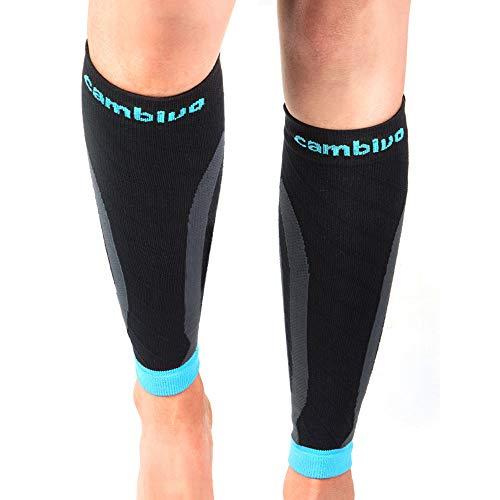 CAMBIVO 2 Paar Wadenbandage, Waden Kompressionsstrümpfe Damen und Herren, Calf Sleeves, Beinlinge, Kompressionssocken ohne Fuß für Sport, Fussball (Blau, S-M)