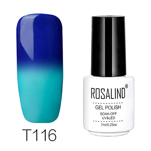 Rosalind - Esmalte permanente pintauñas gel uv y led de uñas con cambio de temperatura, 7 ml, color blanco