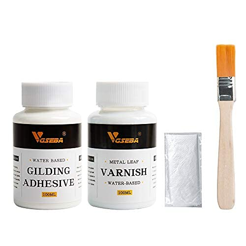 VGSEBA adhesivo para dorar, cola de pan de oro a base de agua y barniz para proteger la lámina de oro de la oxidación 200 ml (cepillo + guantes como regalo)