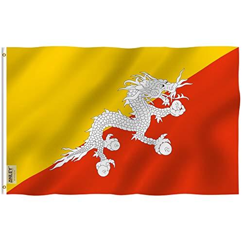 Anley Fly Breeze 3x5 Fuß Bhutan Flagge - Lebendige Farbe und UV-beständig - Canvas Header und Doppelnaht - The Kingdom of Bhutan Flags Polyester with Brass Grommets 3 X 5 Ft
