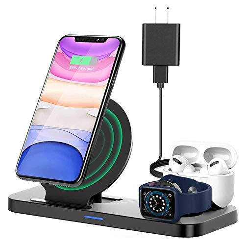 Wireless Charger Stand 3 in 1, Qi-Certified Wireless Charger Station for Apple Watch SE/6/5/4/3/2/1 AirPods iPhone 12/11/11pro/11pro Max/X/XS/XR, Charging Dock Station for Other Qi Phones
