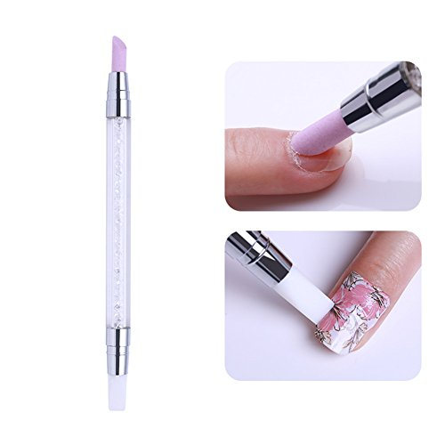 Born Pretty 1 PC Nail Art Quartz Cuticle Remover doppio Ended Pen Silicon...