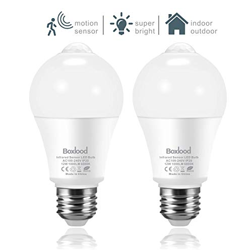 2x bombillas con sensor de movimiento, 6000K Blanco Frío, luces de seguridad LED de 12W, sensor PIR y sensor de luz incorporados, encendido/apagado automático para porche escaleras de sótano Pasillo