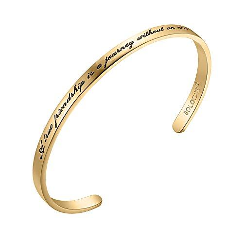 Solocute Damen Armband mit Gravur A True Friendship is a Journey Without an end Inspiration Frauen Armreif Schmuck (Gelbgoldfarbe)