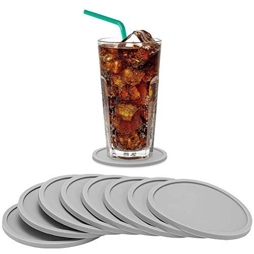 jlon Juego de 8 posavasos de silicona para bebidas, color gris, resistente al calor, alfombrilla redonda para tazas, alfombrilla antideslizante para protección, botella de vino