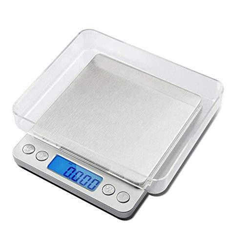 ACCLD Digital Kitchen Scale-Ultra-Mince Design Maison/Cuisine Appareils de Cuisson électronique, Balance électronique en Acier Inoxydable, avec Deux Plateaux, (Argent),Battery/500g/0.01g