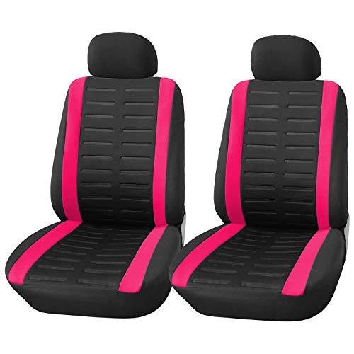 Upgrade4cars Coprisedili Auto Anteriore Universali Nero Rosa Set Copri-Sedile Universale per Guidatore e Passeggero con Airbag Laterali Accessori Auto Interno