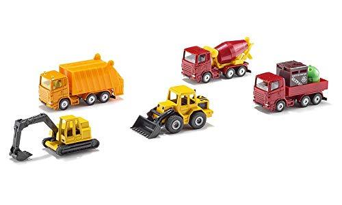 SIKU 6283, Geschenkset 4 - Baustellenfahrzeuge, 5-teilig, Metall/Kunststoff, Multicolor, Bewegliche Teile