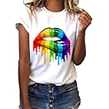 LianMengMVP T-Shirt Femme Pas Cher a La Mode Fashion Simple Lot T-Shirt Blanc Col Rond Manche Courte Geste des Lèvres Impression Grande Taille T-Shirt Femme Humour Sexy Chic