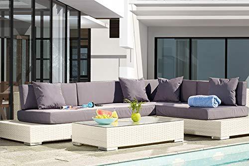 Au jardin de Chloé Salon de Jardin, mobilier de Jardin en résine tressée  avec canapé d\'angle modulable   Haut de Gamme MELOEE Blanc • 2 banquettes  ...
