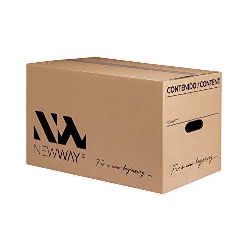 Pack 20 cajas de cartón para mudanza y almacenaje 500x300x300mm con asas fabricadas en España con cartón ecológico altamente resistente una capa CALIDAD BASIC