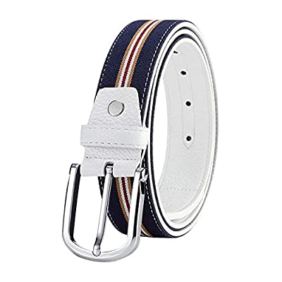 Men's Golf Belt Ribbon Inlay Dress Belt with Single Prong Navy Blue Casual Jeans Belt Canvas and Leather Belt Birthday Gift For Friends Male (Navy Strap, Single Prong)