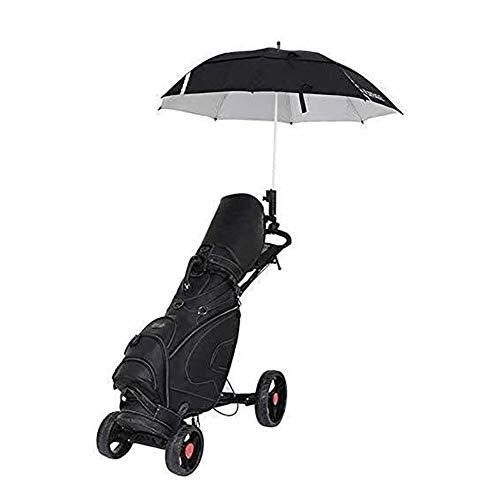 HLR Golftrolley Zieh Golfcarts 4-Rad-Push-Pull-Golf Cart Faltbare Leicht Golf Trolley mit Handbremse, Schirmständer, Getränkehalter, glatten Rad, Multi-Funktions-Panel