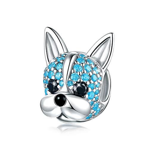 Forever Queen damska zawieszka w kształcie psa, srebro wysokiej próby 925, cyrkonia 5A, zwierzę domowe, francuski buldog, charms dla miłośników zwierząt, kobiet, dziewcząt, w eleganckim pudełku na prezent e srebro szterlingowe 925, colore: Damen Hund