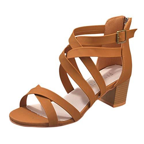 Minetom Damen Sommer Sandalen High Heels Casual Elegant Schuhe rutschfeste Peep Toe Kreuzgurt Reißverschluss Strand Urlaub Braun 40 EU