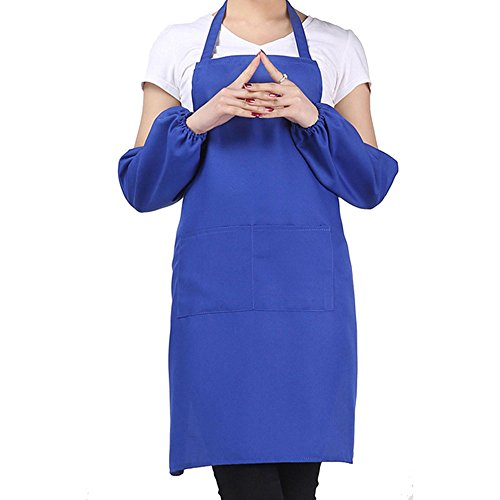 FUT Best Gift for Family Unisex Ordinary Simple 2 Pockets Kitchen Apron Bib, One Size in Medium Best for BBQ, Cooking 6 Colors