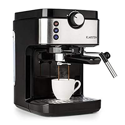 Klarstein BellaVita Espresso Espresso Machine - 20 Bar, 1575 Watt, Capacity: 900 ml, Thermo Block Heating Element, One Touch Control, Steam Nozzle, Cup Warmer, Stainless Steel, Silver