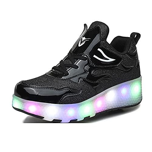 ZGZFEIYU Zapatillas Brillantes con Carga USB Que Convierten Patines para Niños Y Niñas, Principiantes, Así como Patines para Adultos Iluminados Al Aire Libre-E67 Black||41