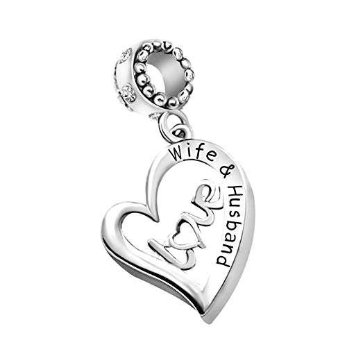 KunBead Jewelry I Love You Wife Husband Wedding Engagement Gift Heart Charms for Women Valentines