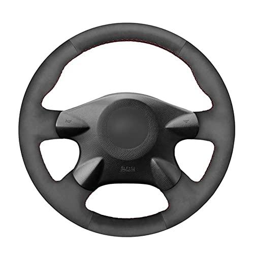 MDHANBK Cosido a Mano de Bricolaje Dirección de Gamuza Negro Rueda de Coche de la Cubierta, para Nissan Almera (N16) Primera (P12) 2 Terrano Pathfinder Accesorios para el Coche